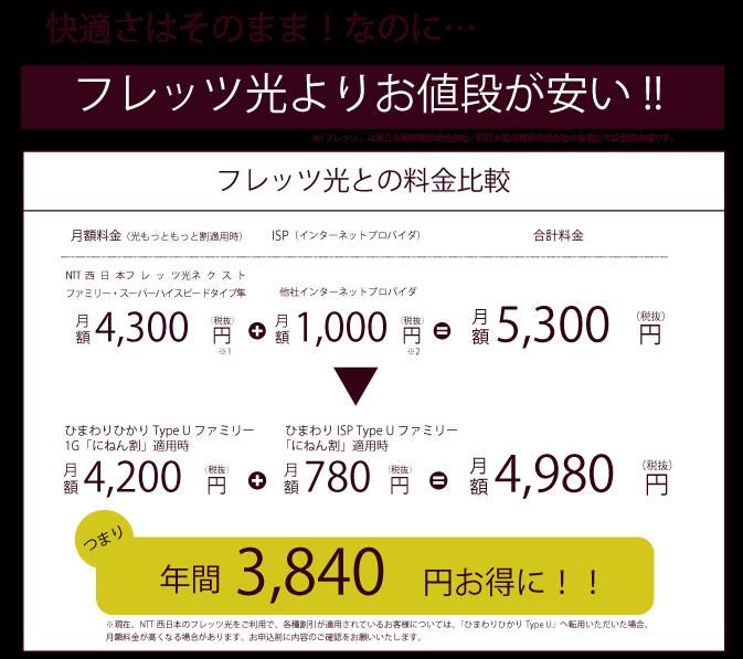 フレッツ光よりお値段が安い(図)